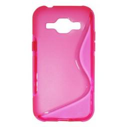 Samsung Galaxy J1 - Gumiran ovitek (TPU) - roza-prosojen SLine