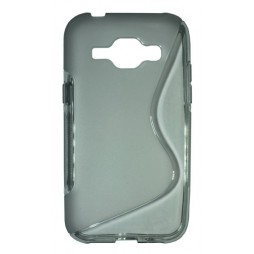 Samsung Galaxy J1 - Gumiran ovitek (TPU) - sivo-prosojen SLine
