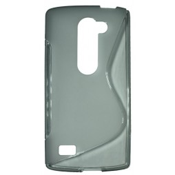 LG Leon - Gumiran ovitek (TPU) - sivo-prosojen SLine