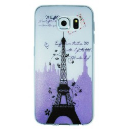 Samsung Galaxy S6 - Gumiran ovitek (TPUP) - Purple Eiffel tower