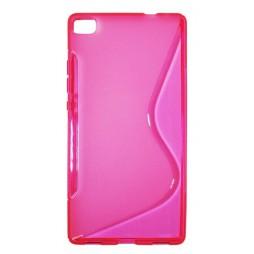 Huawei P8 - Gumiran ovitek (TPU) - roza-prosojen SLine
