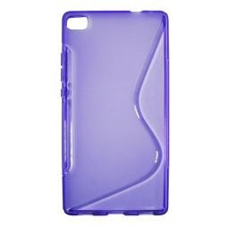 Huawei P8 - Gumiran ovitek (TPU) - vijolično-prosojen SLine