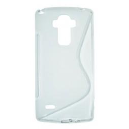 LG G4 Stylus - Gumiran ovitek (TPU) - belo-prosojen SLine