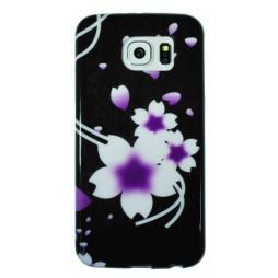 Samsung Galaxy S6 - Gumiran ovitek (TPUP) - Black white flowers