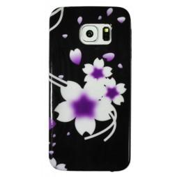Samsung Galaxy S6 Edge - Gumiran ovitek (TPUP) - Black white flowers
