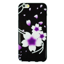 Apple iPhone 6/6S - Gumiran ovitek (TPUP) - black white flowers