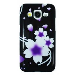 Samsung Galaxy Core Prime - Gumiran ovitek (TPUP) - Black white flowers