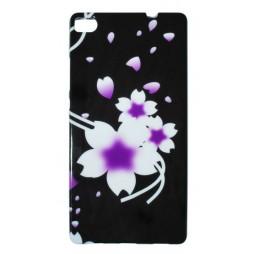 Huawei P8 - Gumiran ovitek (TPUP) - Black white flowers