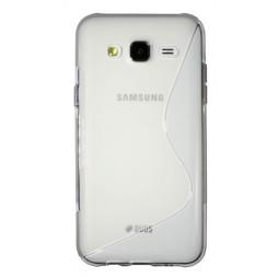Samsung Galaxy J5 - Gumiran ovitek (TPU) - belo-prosojen SLine