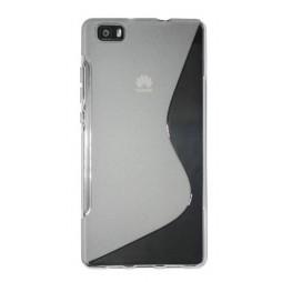 Huawei P8 Lite - Gumiran ovitek (TPU) - belo-prosojen SLine