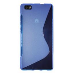 Huawei P8 Lite - Gumiran ovitek (TPU) - modro-prosojen SLine