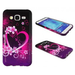 Samsung Galaxy J5 - Gumiran ovitek (TPUP) - Black pink heart