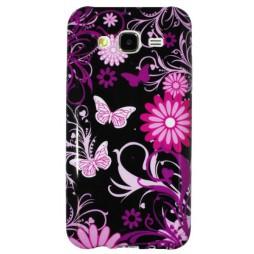 Samsung Galaxy J5 - Gumiran ovitek (TPUP) - Pinky flowers dark