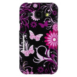 Samsung Galaxy J1 - Gumiran ovitek (TPUP) - Pinky flowers dark