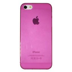 Apple iPhone 5/5S/SE - Gumiran ovitek (TPUA) - temno roza-prosojen