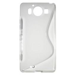 Microsoft Lumia 950 - Gumiran ovitek (TPU) - belo-prosojen SLine