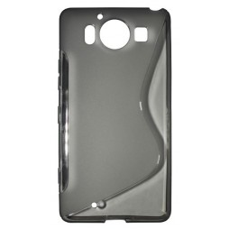 Microsoft Lumia 950 - Gumiran ovitek (TPU) - sivo-prosojen SLine