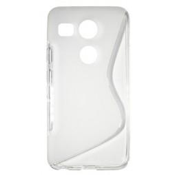 LG Nexus 5X - Gumiran ovitek (TPU) - belo-prosojen SLine