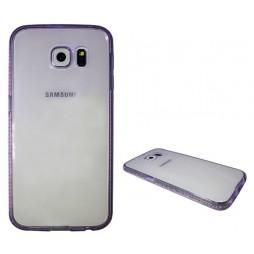 Samsung Galaxy S6 - Gumiran ovitek (TPUD) - rob vijoličen
