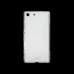 Sony Xperia M5 - Gumiran ovitek (TPU) - belo-prosojen SLine