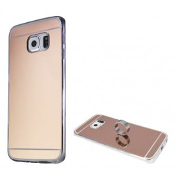 Samsung Galaxy S6 Edge - Gumiran ovitek (TPUE) - ogledalo roza