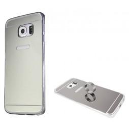 Samsung Galaxy S6 Edge - Gumiran ovitek (TPUE) - ogledalo srebrno