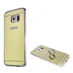 Samsung Galaxy S6 Edge - Gumiran ovitek (TPUE) - ogledalo zlato