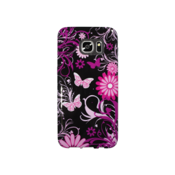 Samsung Galaxy S7 Edge - Gumiran ovitek (TPUP) - Pinky flowers dark