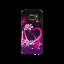 Samsung Galaxy S7 - Gumiran ovitek (TPUP) - Black pink heart