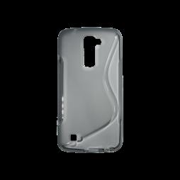 LG K10 - Gumiran ovitek (TPU) - sivo-prosojen SLine