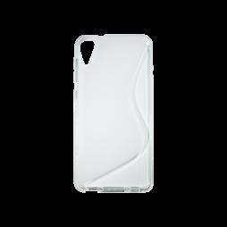 HTC Desire 825/10 Lifestyle - Gumiran ovitek (TPU) - belo-prosojen SLine
