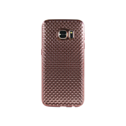 Samsung Galaxy S7 - Gumiran ovitek (TPUE) - prepletenka roza-zlata