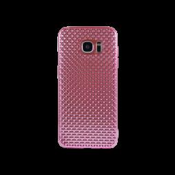 Samsung Galaxy S7 Edge - Gumiran ovitek (TPUE) - prepletenka roza