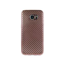 Samsung Galaxy S7 Edge - Gumiran ovitek (TPUE) - prepletenka roza-zlata