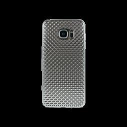 Samsung Galaxy S7 Edge - Gumiran ovitek (TPUE) - prepletenka srebrna