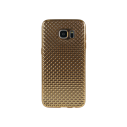 Samsung Galaxy S7 Edge - Gumiran ovitek (TPUE) - prepletenka zlata