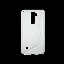 LG Stylus 2 - Gumiran ovitek (TPU) - belo-prosojen SLine