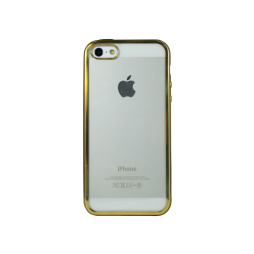 Apple iPhone 5/5S/SE - Gumiran ovitek (TPUE) - rob zlat