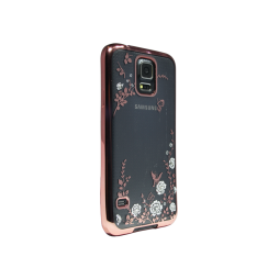Samsung Galaxy S5/S5 Neo - Gumiran ovitek (TPUE) - roza rob - bele rožice