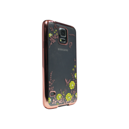 Samsung Galaxy S5/S5 Neo - Gumiran ovitek (TPUE) - roza rob - rumene rožice