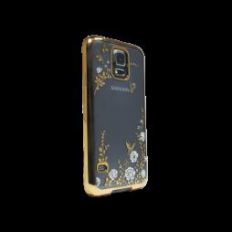 Samsung Galaxy S5/S5 Neo - Gumiran ovitek (TPUE) - zlat rob - bele rožice
