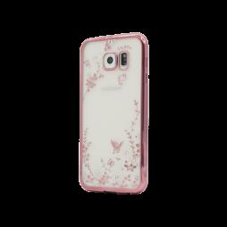 Samsung Galaxy S6 - Gumiran ovitek (TPUE) - roza rob - bele rožice