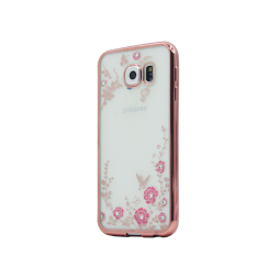 Samsung Galaxy S6 - Gumiran ovitek (TPUE) - roza rob - roza rožice