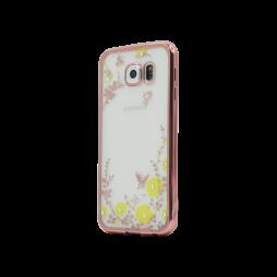 Samsung Galaxy S6 - Gumiran ovitek (TPUE) - roza rob - rumene rožice