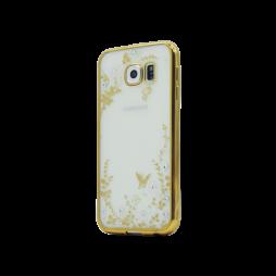 Samsung Galaxy S6 - Gumiran ovitek (TPUE) - zlat rob - bele rožice