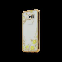 Samsung Galaxy S6 - Gumiran ovitek (TPUE) - zlat rob - rumene rožice