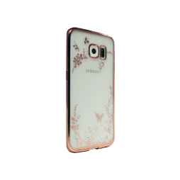 Samsung Galaxy S6 Edge - Gumiran ovitek (TPUE) - roza rob - bele rožice