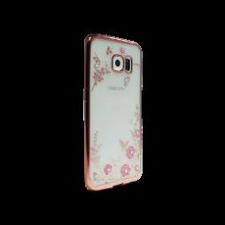 Samsung Galaxy S6 Edge - Gumiran ovitek (TPUE) - roza rob - roza rožice