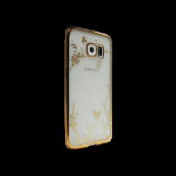 Samsung Galaxy S6 Edge - Gumiran ovitek (TPUE) - zlat rob - bele rožice