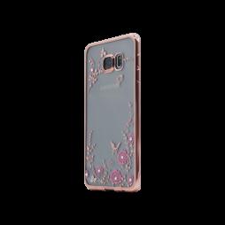 Samsung Galaxy S6 Edge Plus - Gumiran ovitek (TPUE) - roza rob - roza rožice